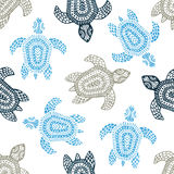 Turtles - seamless pattern. Blue, gray and white colors. Grunge Royalty Free Stock Photos