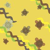 Turtles seamless pattern - green and yellow. Turtles seamless pattern, green and yellow Royalty Free Stock Photography