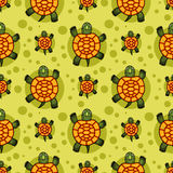 Turtles seamless pattern. Seamless vector pattern, background with stylized hand drawn turtles Royalty Free Stock Photo