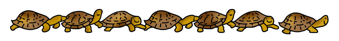 Turtles tortoises line. A line of happy tortoises or turtles on the march Stock Image
