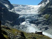 Turtmann Glacier. And Turtmann mountain cabin in the Valais, south west part of Switzerland royalty free stock photo