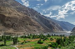 Turtukdorp in de Nubra-Vallei van Ladakh, India stock foto