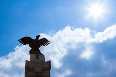 The Turul on top of the Patriots memorial statue. The Turul eagle-like bird on top of the Patriots memorial statue in Gyor, Hungary royalty free stock images