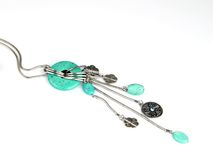 Turuoise necklace. Earrings make of turquoise stones stock image