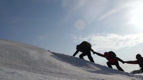 Turyści wspina się śnieżną górę w Alaska trzymają ręki coordinated pracy zespołowej mountaineering w zimy turystyce wewnątrz zbiory wideo