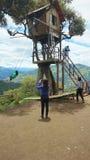 Turyści bawić się na huśtawce domek na drzewie miasto blisko Banos lokalizuje na północnych pogórzach Tungurahua volc Zdjęcia Stock