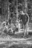 Turyści dzieli myśli o podwyżce siedzą na beli Pinkin z przyjaciółmi w lasowym pobliskim ognisku Firma ma podwyżka pinkin obrazy stock