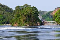 Turyści na Białej Nil rzece w Uganda Obraz Royalty Free