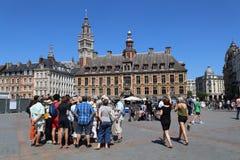 Turyści na miejscu Du Generał de Gaulle w Lille, Francja Zdjęcia Royalty Free