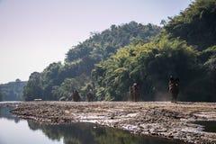 Turyści na słoniu trekking w słoniu obozują Zdjęcia Stock
