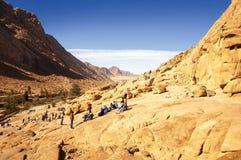 Turyści oglądają skalistą pustynię w sharm el-sheikh w Egy obraz stock