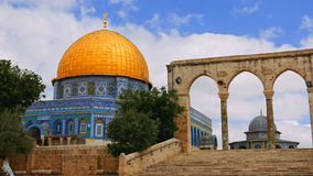 Turyści przy kopułą skała w Jerozolima Fotografia Royalty Free