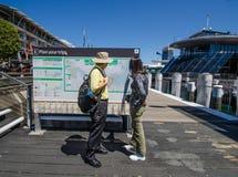 Turyści sprawdzają out mapę Sidney przy Kochanym schronieniem Obraz Stock