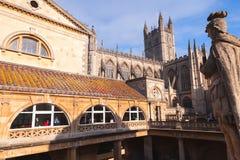 Turyści w Antycznych Romańskich skąpaniach, UK obrazy stock