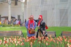 Turyści w jaskrawych ubraniach podziwiają tulipany zdjęcia royalty free
