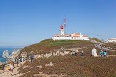 Turyści na Cabo da Roca, Portugalia Obraz Stock