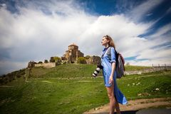 Turyści odwiedza widoki Gruzja Zdjęcia Stock