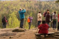 Turyści w górach Zdjęcia Royalty Free