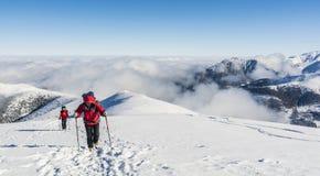 Turyści wchodzić do szczyt Fotografia Stock