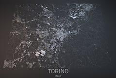 Turyn mapa, satelitarny widok, Włochy Obraz Royalty Free