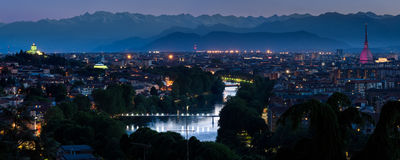 Turyn pejzażu miejskiego panorama z rzeką Po Obrazy Royalty Free