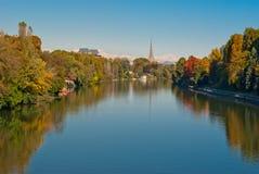 Turyn (Torino), panorama z Po rzeką Obraz Royalty Free