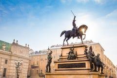Turyn, Włochy - 07 2017 Grudzień Equestrian zabytek krewni Obrazy Stock