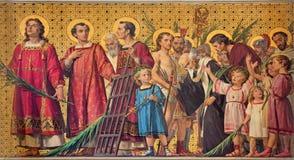 TURYN WŁOCHY, MARZEC, - 15, 2017: Symboliczny fresk święci amartyrs z w kościelnym Chiesa Di San Dalmazzo obraz royalty free