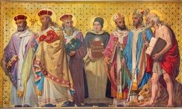 TURYN WŁOCHY, MARZEC, - 15, 2017: Symboliczny fresk święte lekarki kościół z w kościelnym Chiesa Di San Dalmazzo zdjęcie stock
