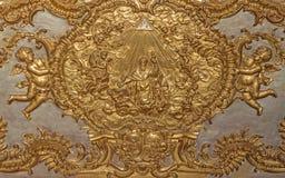 TURYN WŁOCHY, MARZEC, - 14, 2017: Złoto polichromuje ulgę chwała St Augustine w kościelnym Chiesa Di Sant Agostino Obraz Stock