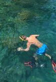Turysta cieszy się z snorkeling w tropikalnym morzu przy Phi Phi islan Fotografia Stock