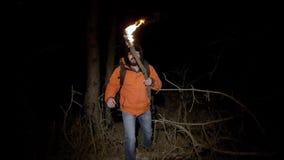 Turysta gubjący w drewnach Mężczyzna w jaskrawej kurtce z płonącą pochodnią w jego rękach i iść przy nocą przez a zdjęcie wideo