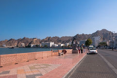 Turysta na Corniche, muszkat, Oman Fotografia Royalty Free