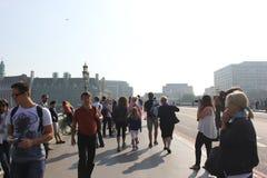 Turysta na moscie Fotografia Stock