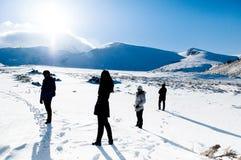 Turysta na Mt Erciyes wulkan zakrywający z śniegiem w zimie, Kays Fotografia Royalty Free