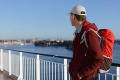 Turysta na pokładzie statek wycieczkowy Obrazy Royalty Free