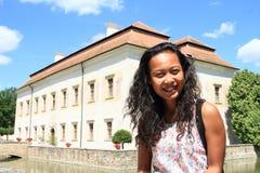 Turysta na renaissance pałac Kratochvile Zdjęcie Royalty Free