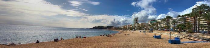 turysta plaża z drzewko palmowe letnikami w Śródziemnomorskim niskim sezonie i hotelami zdjęcie royalty free