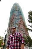 Turysta przy Agbar wierza - Barcelona Zdjęcia Royalty Free