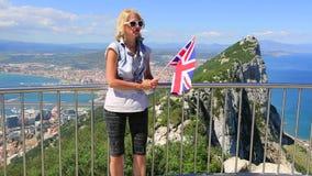 Turysta przy Gibraltar skałą zbiory wideo