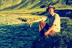 Turysta w obozie Zdjęcie Royalty Free