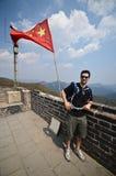 Turysta w wielkim murze, Chiny Obraz Royalty Free