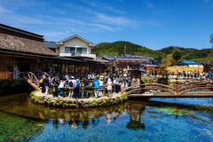 Turysta wizyta Oshino Hakkai Obraz Stock