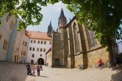 Turysta wizyty Albrechtsburg kasztel w Meissen, Niemcy Obraz Stock