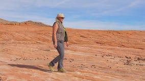 Turysta Wycieczkuje W Pustynnym kobiety odprowadzeniu Na Parkowym rewolucjonistki skały zwolnionym tempie 4K zbiory wideo