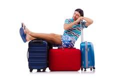 Turysta z torbami odizolowywać na bielu Zdjęcie Royalty Free