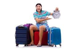 Turysta z torbami odizolowywać na bielu Obrazy Royalty Free