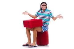 Turysta z torbami odizolowywać na bielu Obrazy Stock