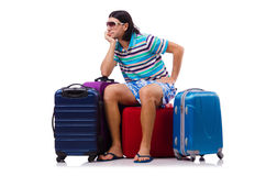 Turysta z torbami odizolowywać na bielu Obraz Royalty Free