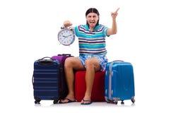 Turysta z torbami odizolowywać na bielu Zdjęcia Royalty Free